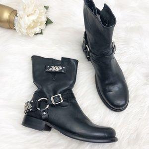 Frye Jenna Braid Black Moto Boots Sz 10